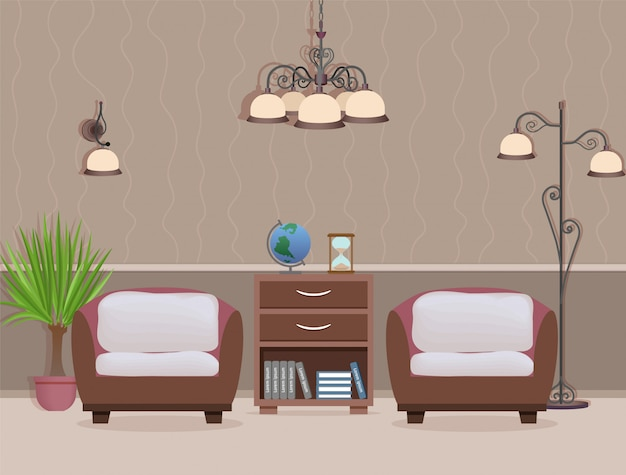 Living room interior design with two armchairs, houseplant and lamps domestic room with furniture Premium Vector