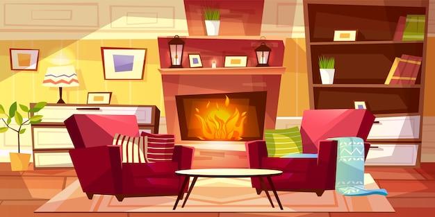 居心地の良い近代的またはレトロなアパートと家具のリビングルームのインテリアイラスト。 無料ベクター