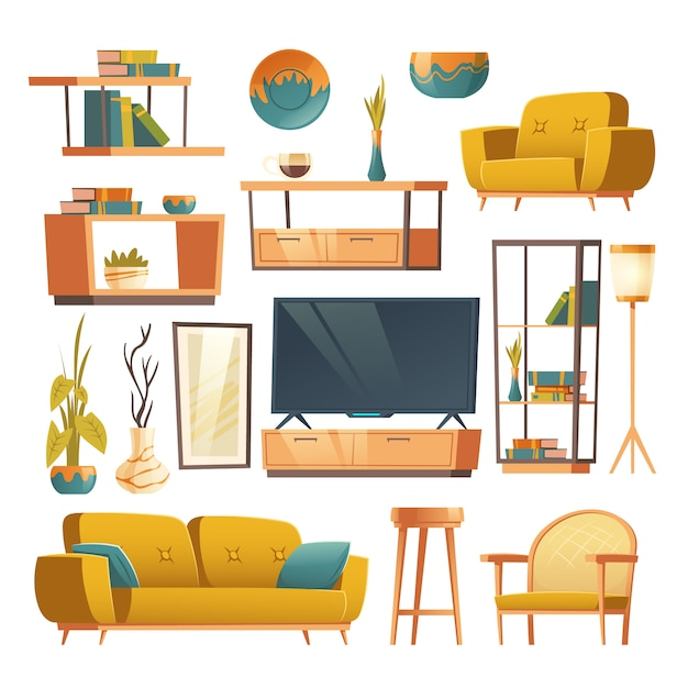 Living room interior set of furniture Free Vector