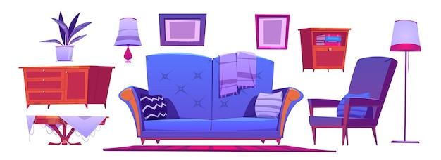 Интерьер гостиной с синим диваном, креслом, журнальным столиком и лампами Бесплатные векторы