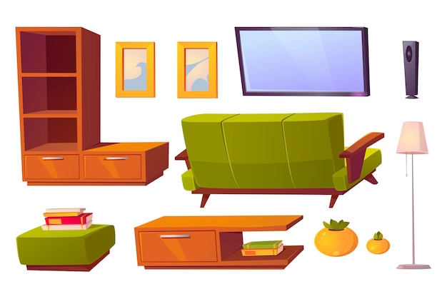 Living room interior set with green sofa, bookshelves and tv. cartoon furniture collection for house, pouf, picture frames, floor lamp and rear view of couch isolated on white background Free Vector