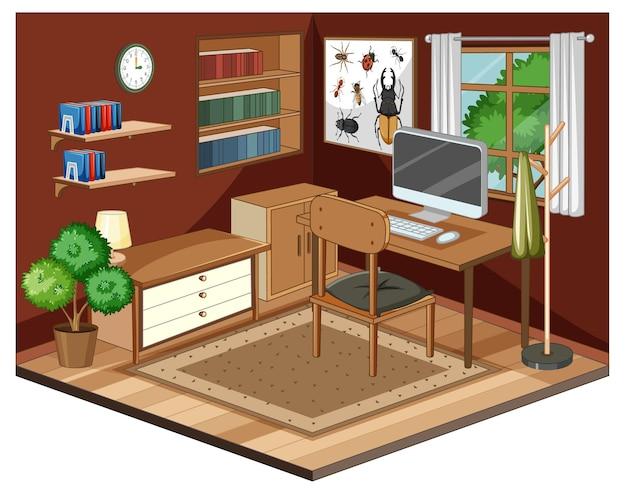 Interno soggiorno con mobili Vettore gratuito