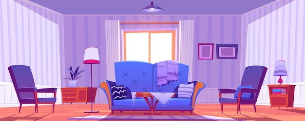 Living room interior with old fashioned furniture and decor. Free Vector