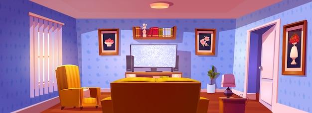 Interiore del soggiorno con vista posteriore su divano, sedia e schermo tv luminoso Vettore gratuito