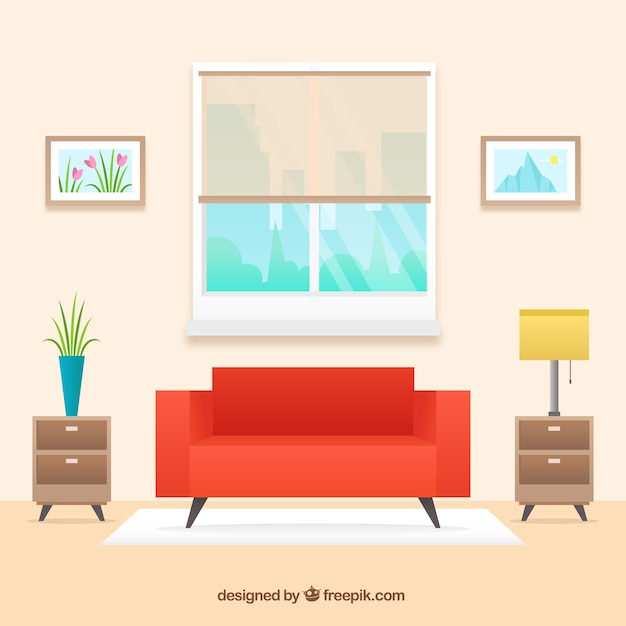 Living room interior with red sofa in flat design vector for Room design vector