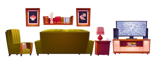 Интерьер гостиной с диваном и телевизором сзади Бесплатные векторы