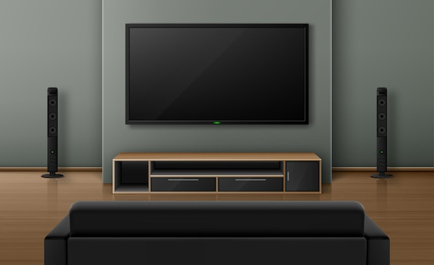 Living room interior with sofa back view and tv with dynamics. Free Vector