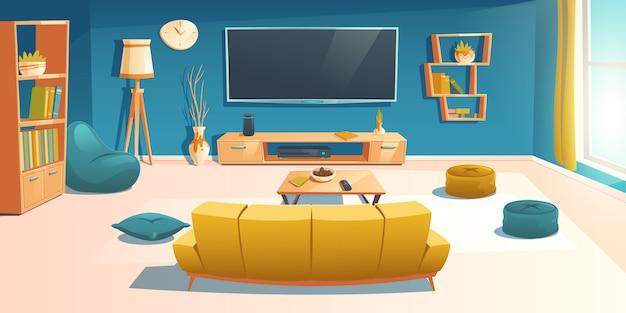 Interno soggiorno con divano e tv, appartamento Vettore gratuito
