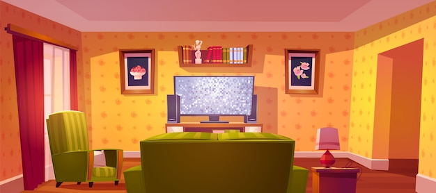 Living room interior with sofa and tv back view, bookshelf and armchair Free Vector