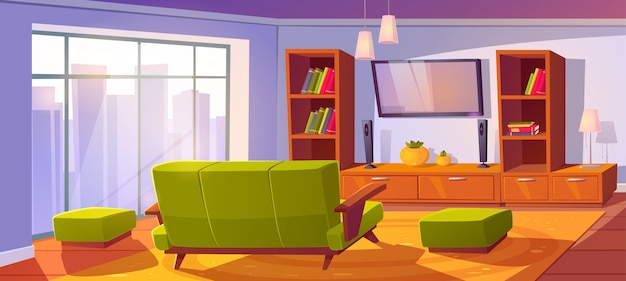 Living room interior with sofa and tv back view Free Vector