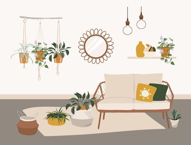 Интерьер гостиной со стильной мебелью в стиле бохо. Premium векторы