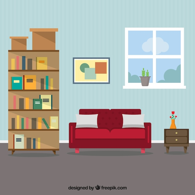 Living room interior vector premium download for Room design vector
