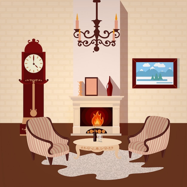 Living room interior Premium Vector