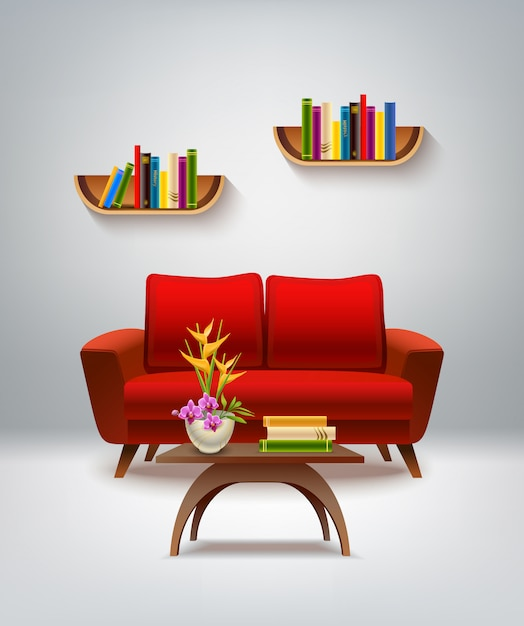 Living room interior Free Vector