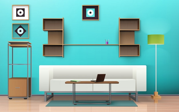 Living room isometric design Free Vector