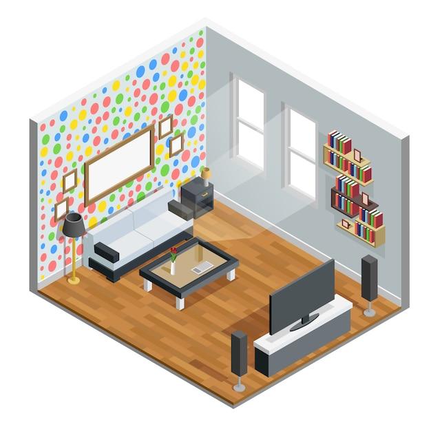 Living room isometric design Free Vector