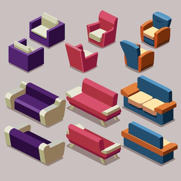Living room isometric furniture vector set. sofa and armchairs. sofa interior, armchair furniture, isometric sofa and armchair illustration Free Vector