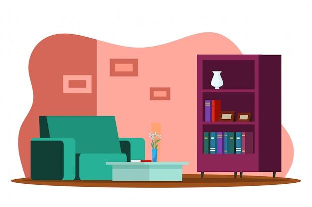 リビングルームのモダンなデザインのインテリア、快適なソファ、コーヒーテーブル、本棚、装飾、花瓶の花、壁の写真、不動産販売、全米リアルター協会加入者の概念 Premiumベクター
