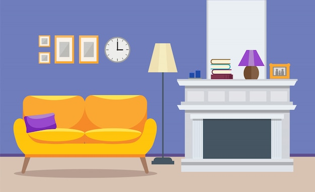 Living room modern interior Premium Vector