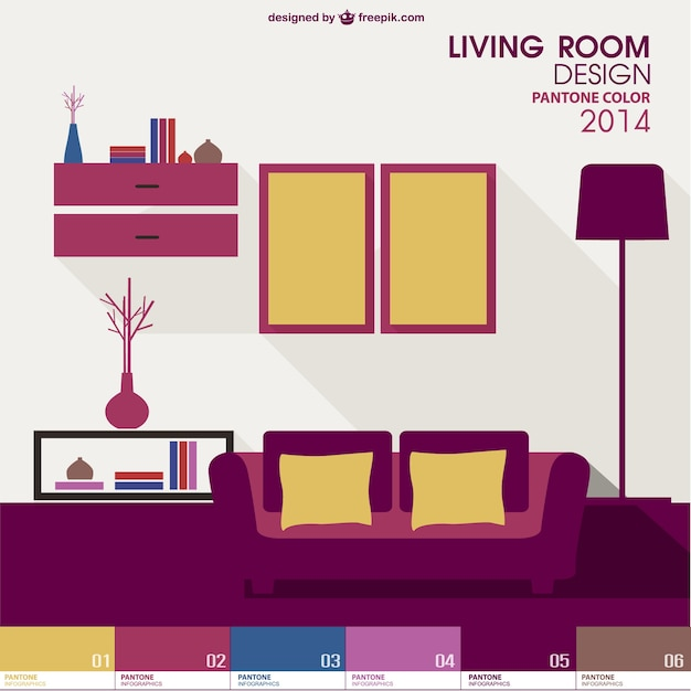Living room pantone vector free download for Room design vector