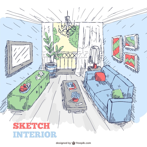 Living room sketch interior doodle vector free download for Living room interior sketch