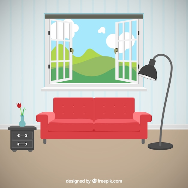 Living room with beautiful views Vector Free Download