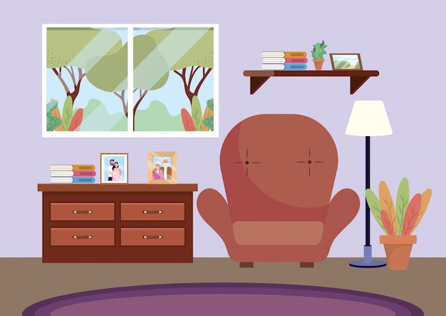 Living room with chair and pictures in the dresser Free Vector
