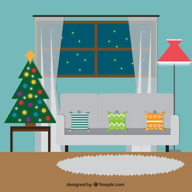 Living room with christmas decoration Free Vector