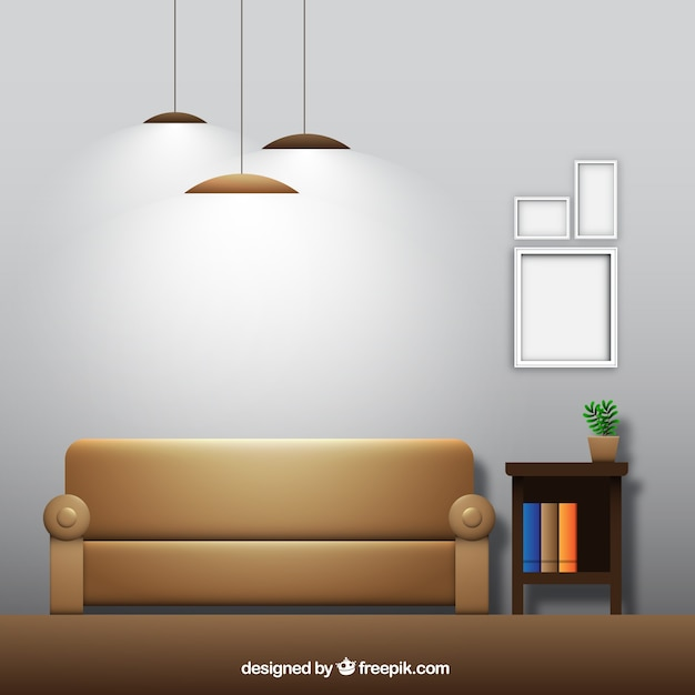 Home Decorating Software Free Download: Living Room With Couch And Frames In Realistic Design