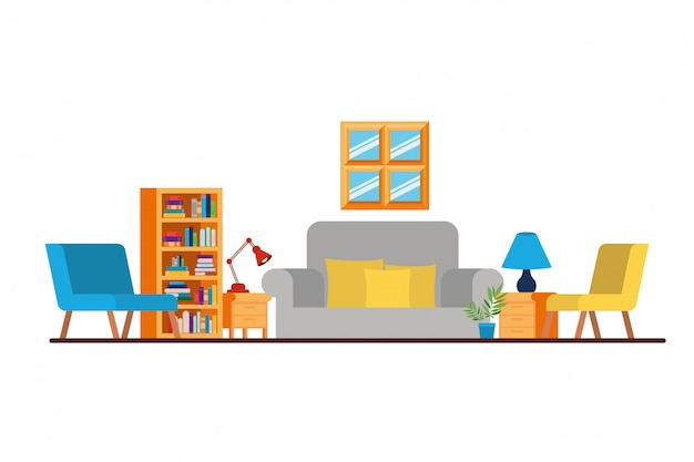 Living room with couch and bookshelf of books Premium Vector