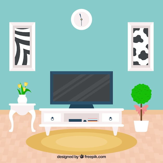 Living room with fantastic tv in flat design vector free for Room design vector