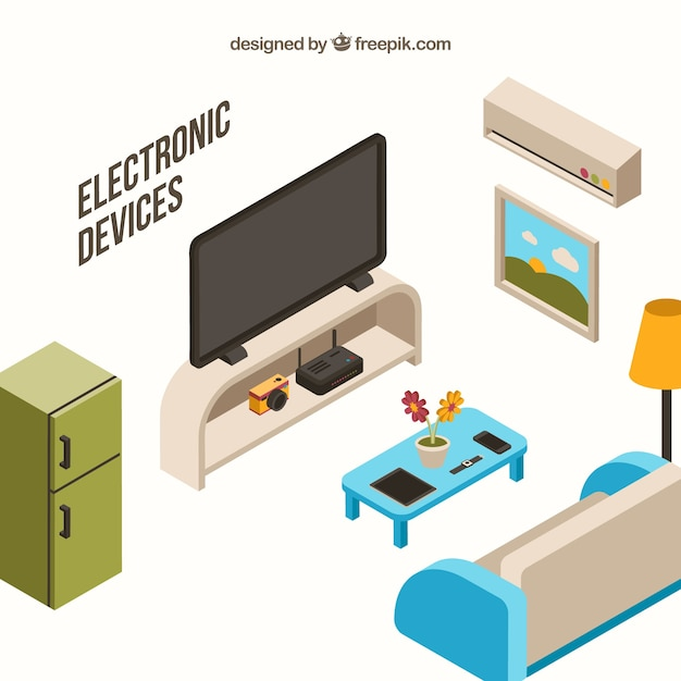 living room appliances. Living room with furniture and isometric appliances Free Vector