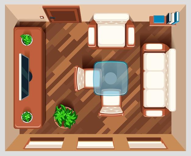 Soggiorno con mobili vista dall'alto. stanza interna per soggiorno, stanza della casa, vista della stanza superiore, illustrazione di mobili da tavolo e poltrona Vettore gratuito