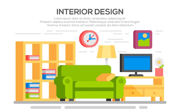 Living room with furniture. Premium Vector