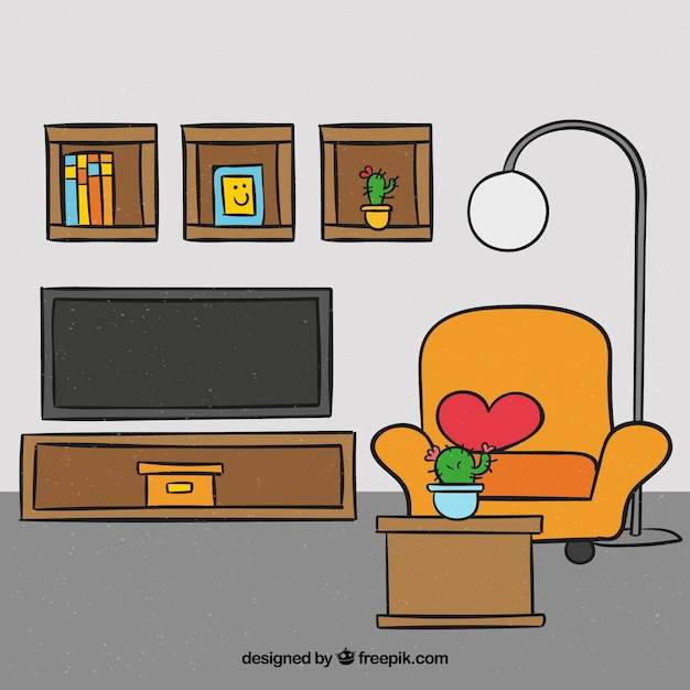 Living room with hand drawn furniture and decoration