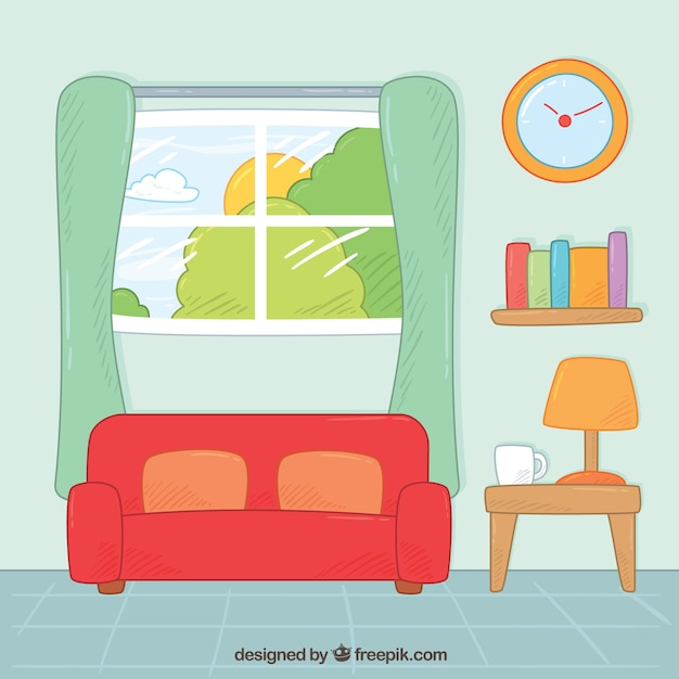 Living Room With Hand Drawn Furniture Vector Free Download