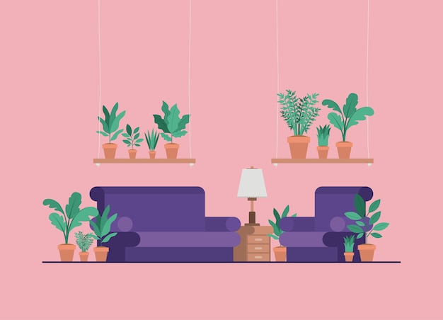 Living room with houseplants and lamp Vector | Premium Download