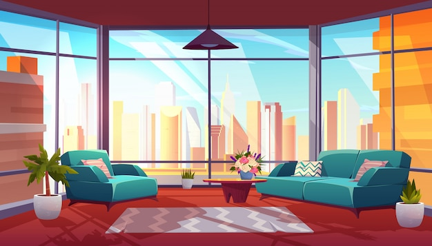 Living room with panoramic window interior Free Vector