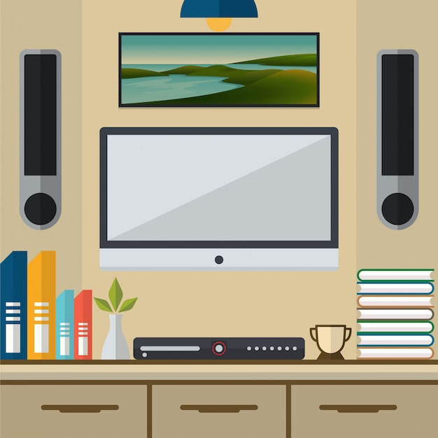 Living room with tv and dvd player vector illustration Premium Vector