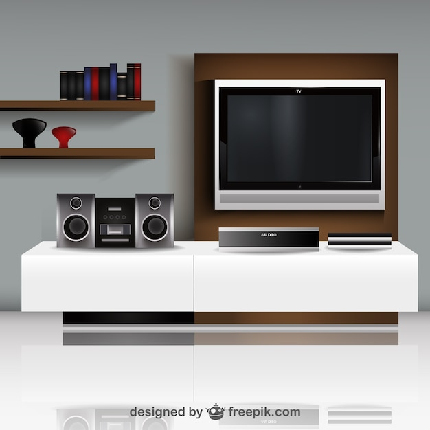 living room with tv vector free vector