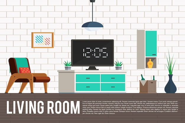 Living room with tv Premium Vector