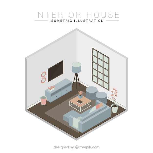 Living room with window and blue couch in isometric design