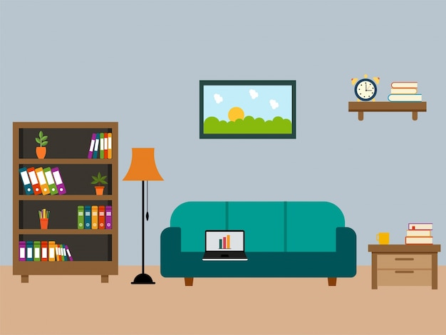 Living room with wooden furniture in flat design vector for Room design vector