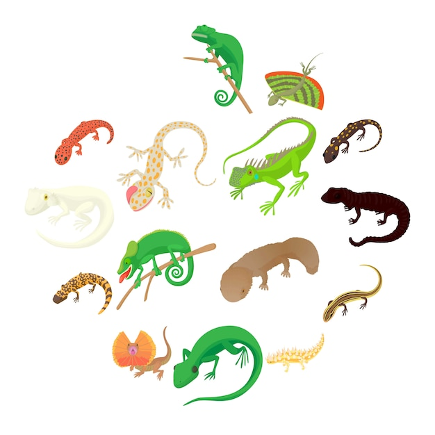 Lizard icons set, cartoon style Premium Vector