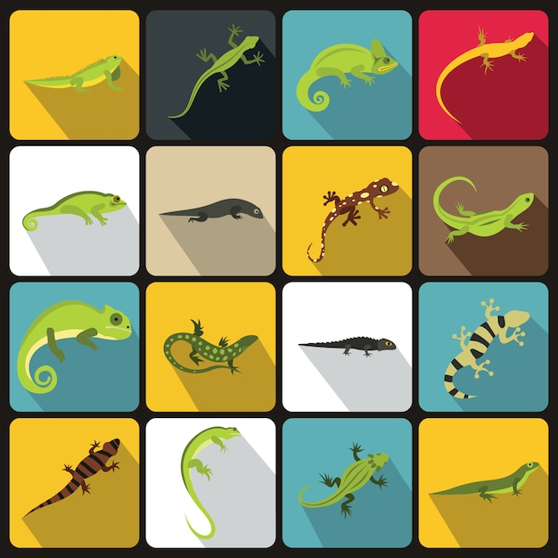 Lizard icons set, flat style Premium Vector