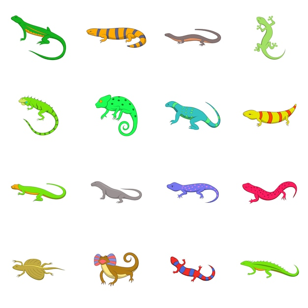 Lizard icons set Premium Vector