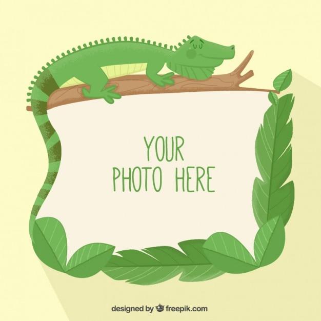 Lizard photo frame  Free Vector