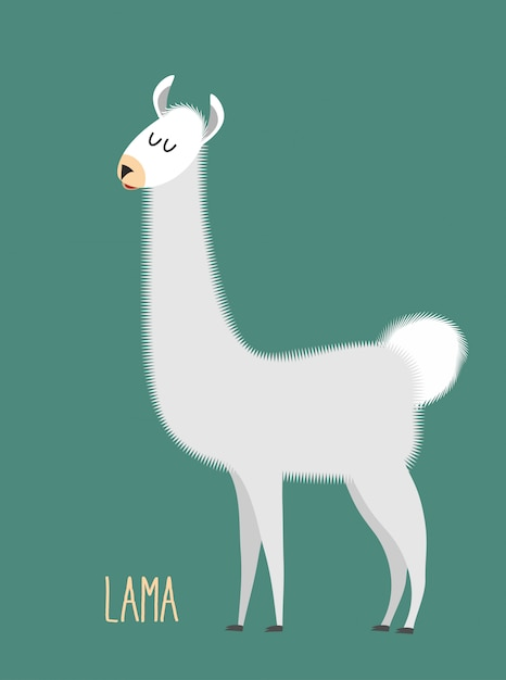 Llama alpaca. animal lama on a green background. Premium Vector