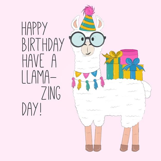 Premium Vector | Llama happy birthday card
