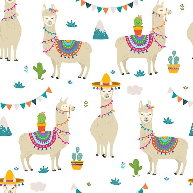 Llama seamless pattern Premium Vector